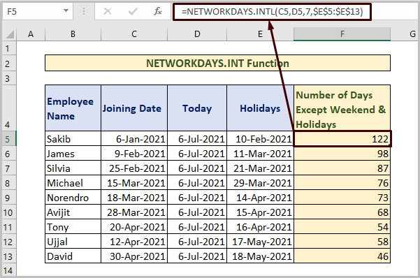 NETWORKDAYS.INTL to Count Days from Date to Today