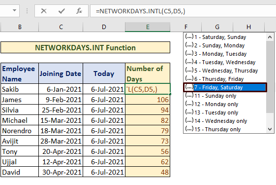 weekend NETWORKDAYS to Count Days from Date to Today
