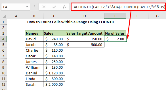 Enter the formual using Countif to find the range