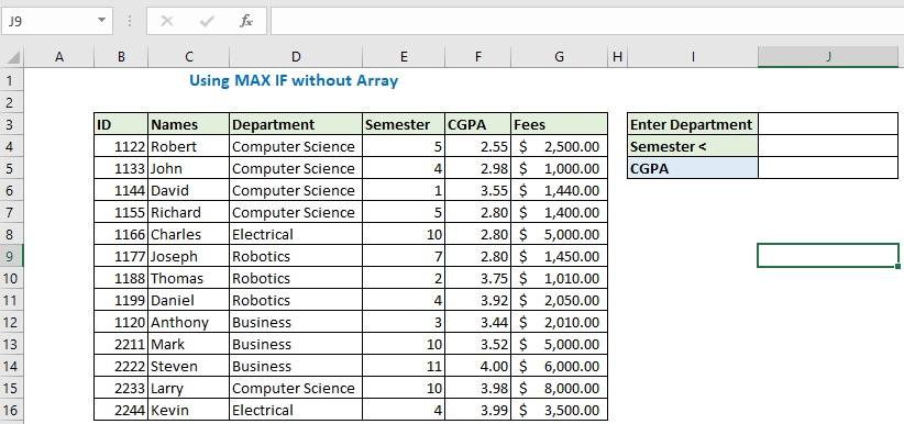 Using MAX IF without array