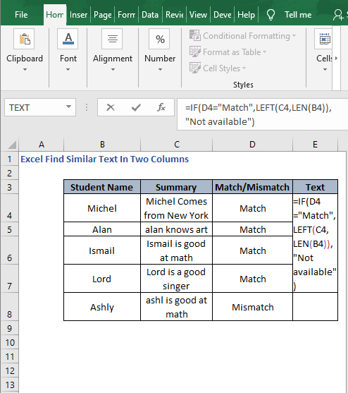 Extract -Excel Find Similar Text In Two Columns