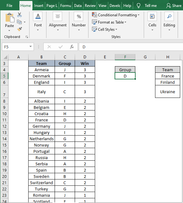Change values - How to Filter Data in Excel using Formula
