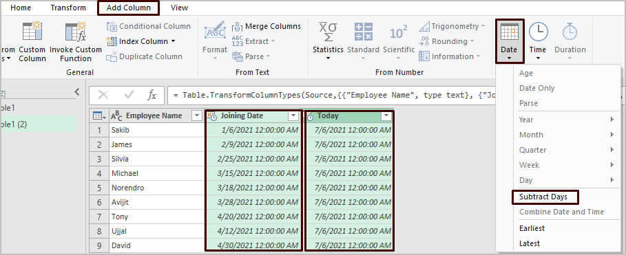 Power Query to Count Days from Date to Today