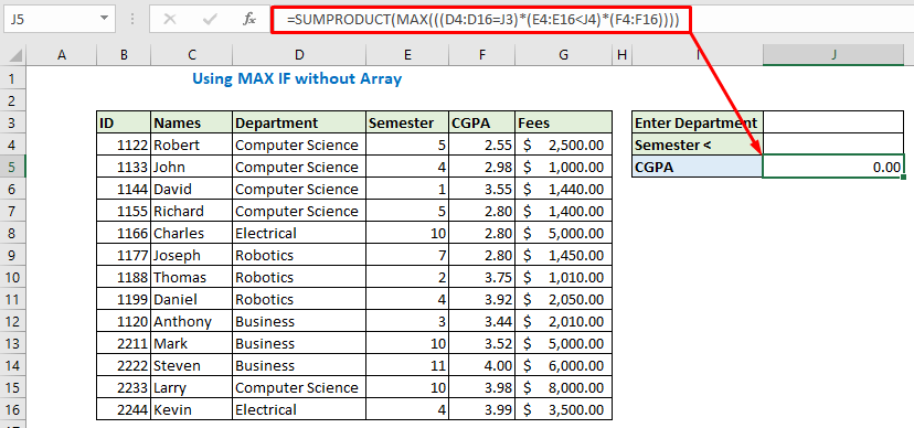 Enter formula without array using MAX IF