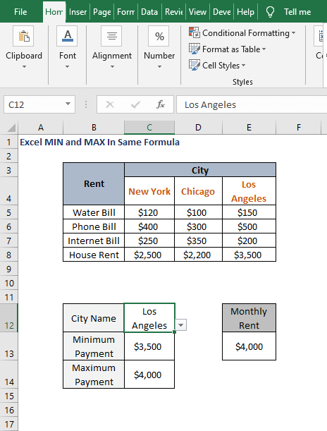Example -Excel MIN and MAX In Same Formula