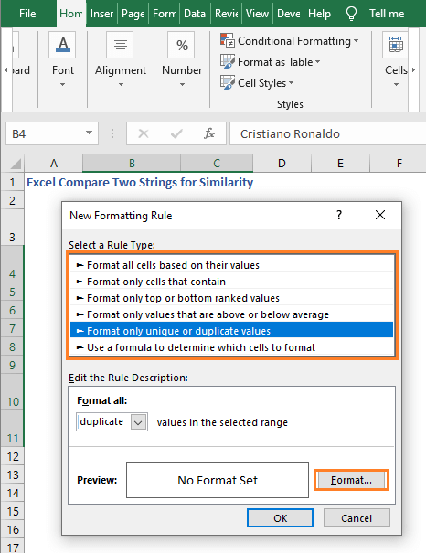New Formatting Dialog box - Excel Compare Two Strings for Similarity