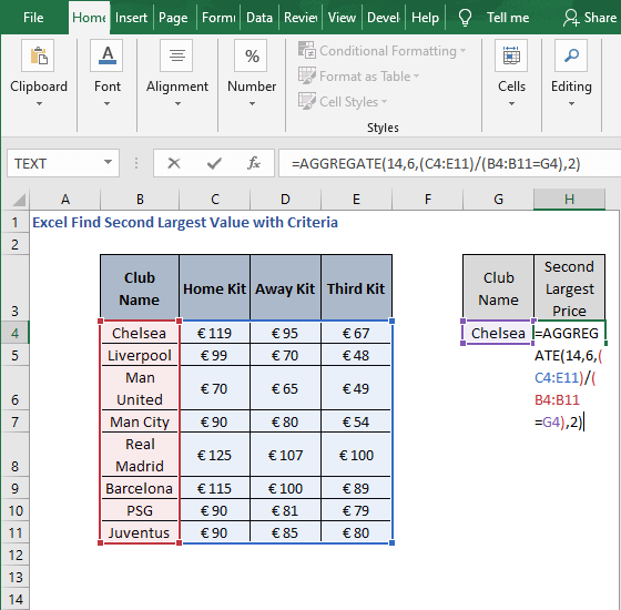 AGGREGATE- Excel Find Second Largest Value with Criteria