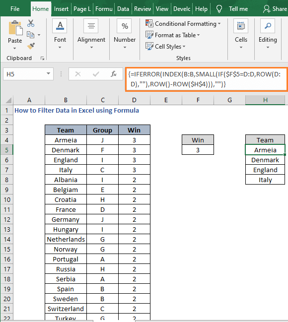 Criteria change - How to Filter Data in Excel using Formula