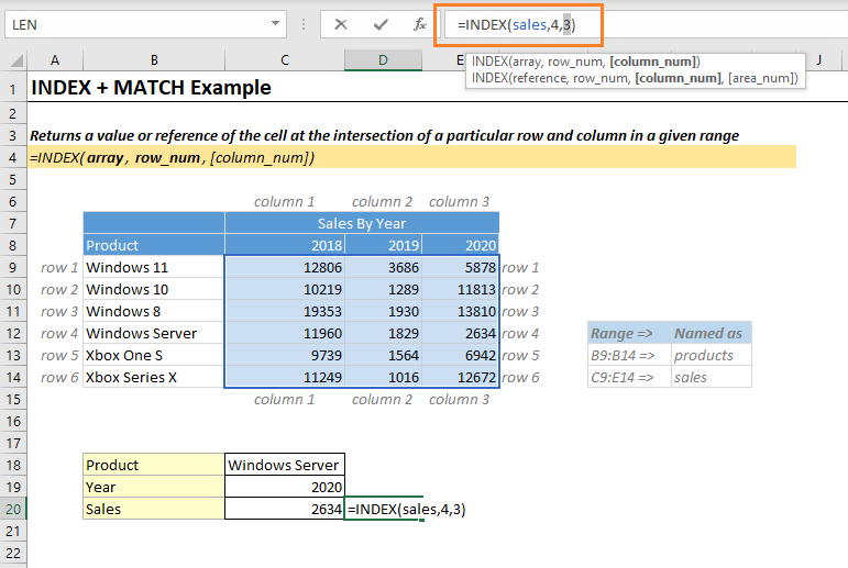 Index Match Function Example