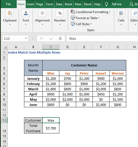 AGGREGATE example - Index Match Sum Multiple Rows