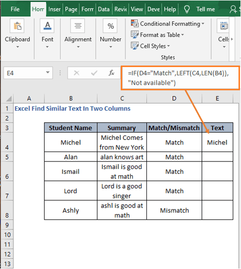 Extract similar text - Excel Find Similar Text In Two Columns