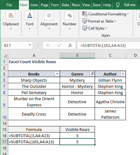 SUBTOTAL 103 - Excel Count Visible Rows