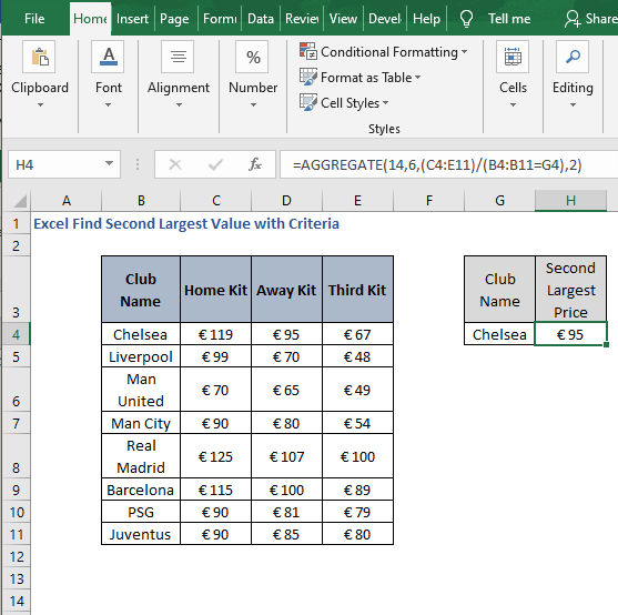 AGGREGATE result - Excel Find Second Largest Value with Criteria
