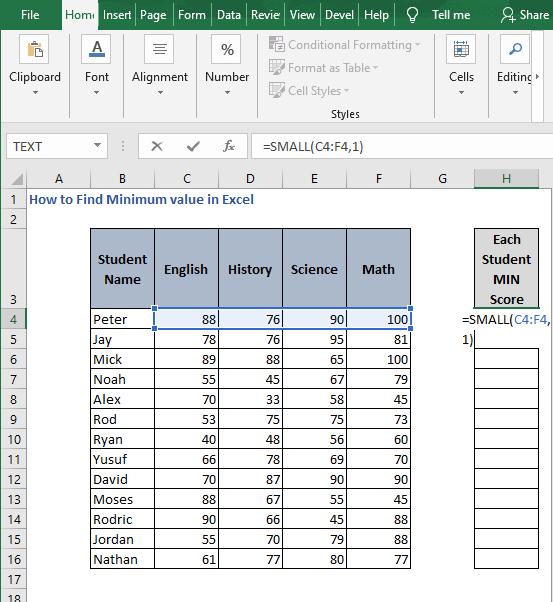 SMALL for row - How to Find Minimum value in Excel