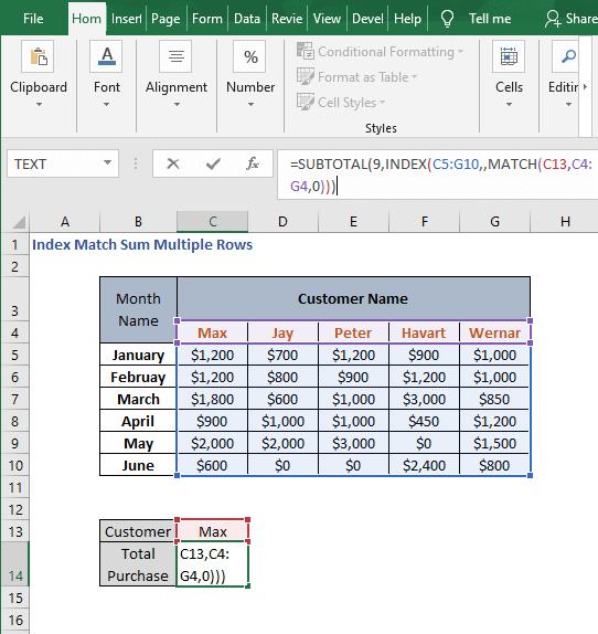 SUBTOTAL - Index Match Sum Multiple Rows