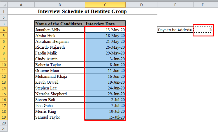 A Range of Cells Selected in Excel