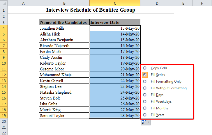 Auto Fill Options in Excel