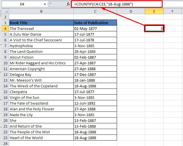 COUNTIF() function in Excel