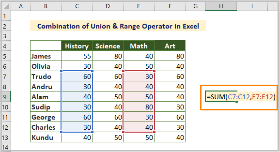 Combination of Union and Range Operator in Excel