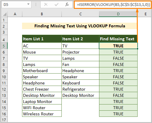 Comparing & Finding Missing Text Using VLOOKUP Formula