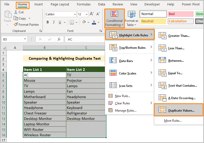 Comparing & Highlighting Duplicate Text