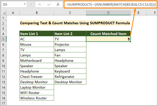 Comparing Text in Two Columns and Count Matches Using SUMPRODUCT Formula