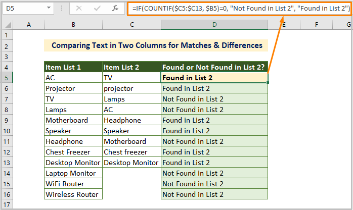 Comparing Text in Two Columns for Matches & Differences