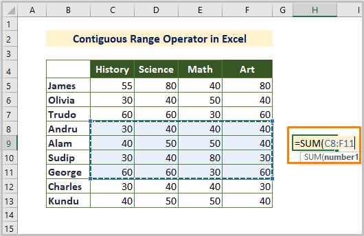 Contiguous Reference Operator in Excel