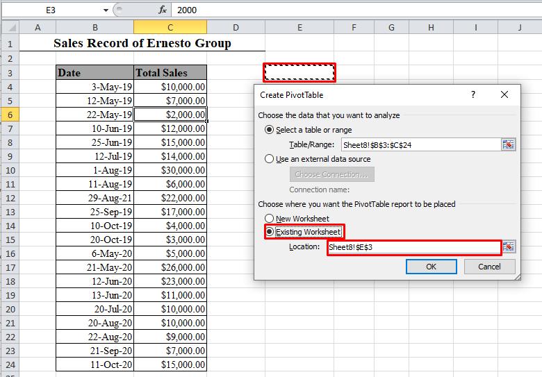 Create PivotTable box in Excel