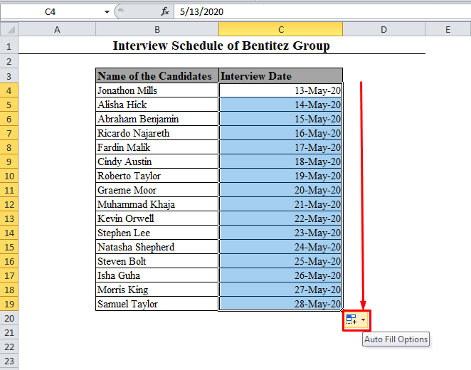 Dragging the Fill Handle in Excel