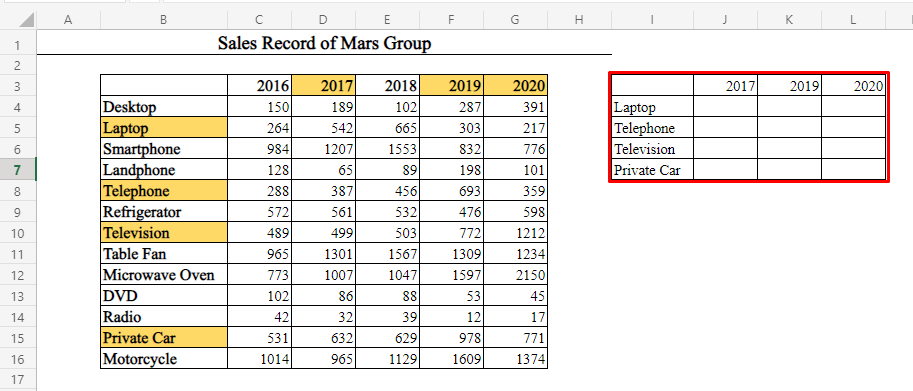 Empty Table for Non Adjacent Multiple Rows and Columns Using OFFSET-MATCH