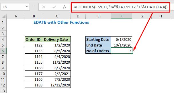 Enter the formula using Edate and press Enter