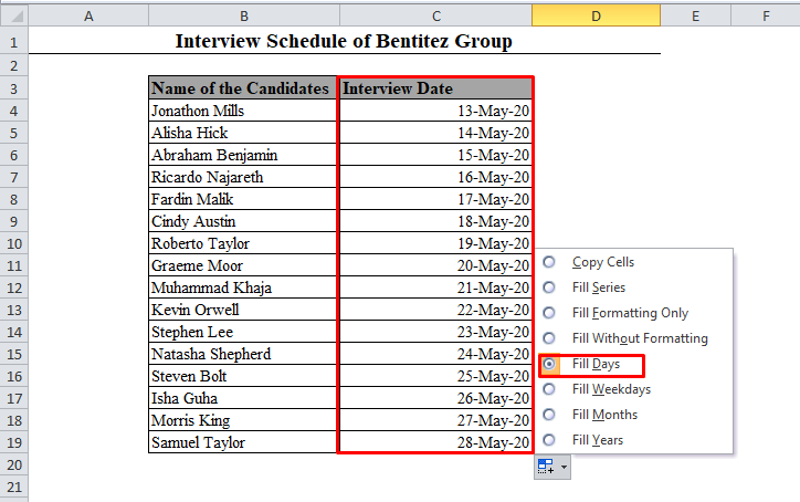 Fill Days Auto Fill Option in Excel