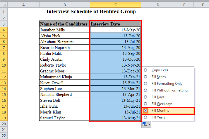 Fill Months Auto Fill Option in Excel