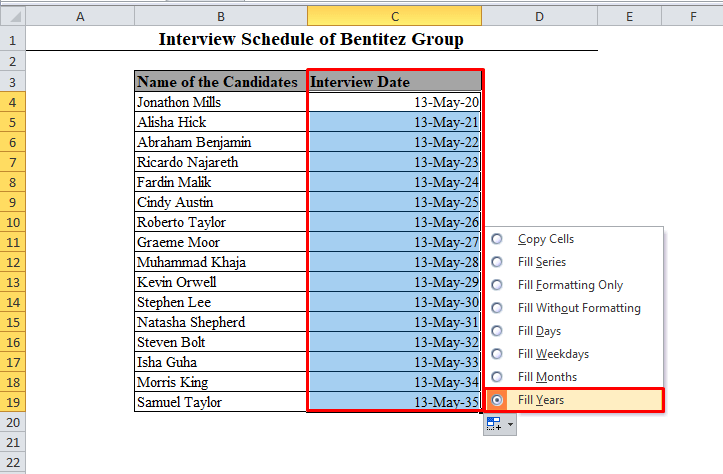 Fill Years Auto Fill Option in Excel