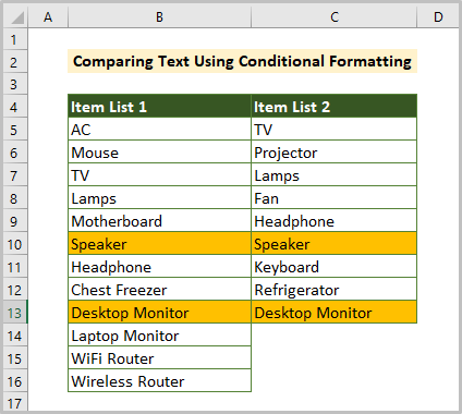 Finding Matches Using Conditional Formatting