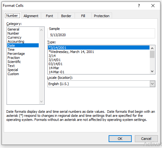 Format Cells Dialogue Box in Excel
