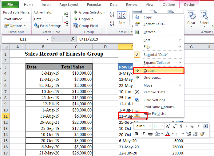 Group cells in PivotTable in Excel