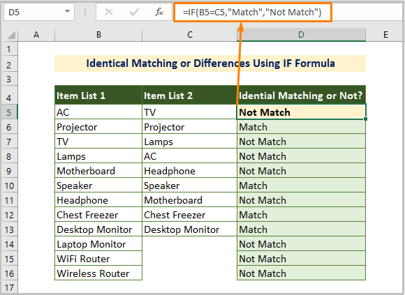 Identical Matching and Differences Using IF Formula