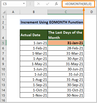 Increment Using EOMONTH Function