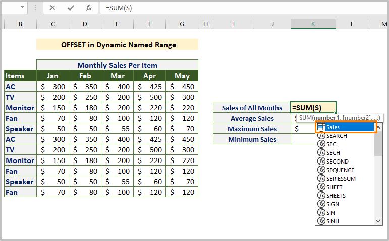 Inserting Dynamic Named Range Formula
