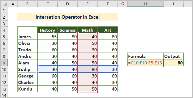 Intersection Reference Operator in Excel