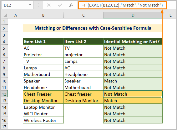 Matching or Differences with Case-Sensitive Formula