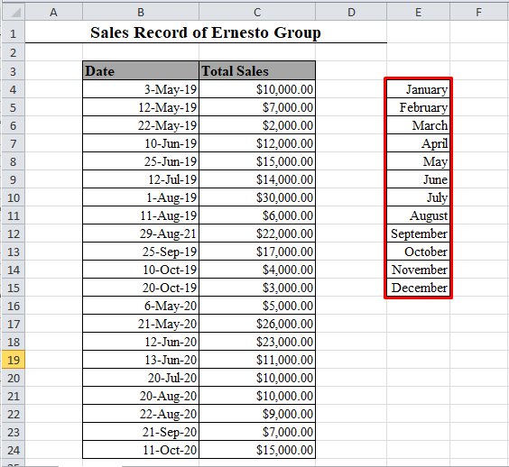Month Names in Excel