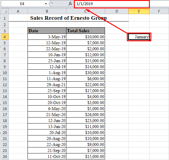 Month name in place of date in Excel