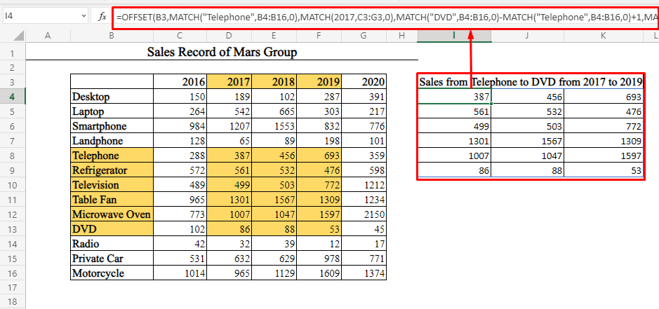 Multiple Row and Columns Data Using OFFSET-MATCH