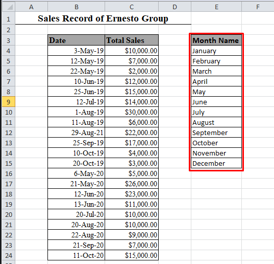 Name of 12 months in Excel