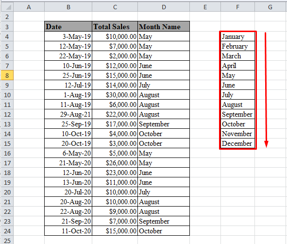 Name of the months in Excel
