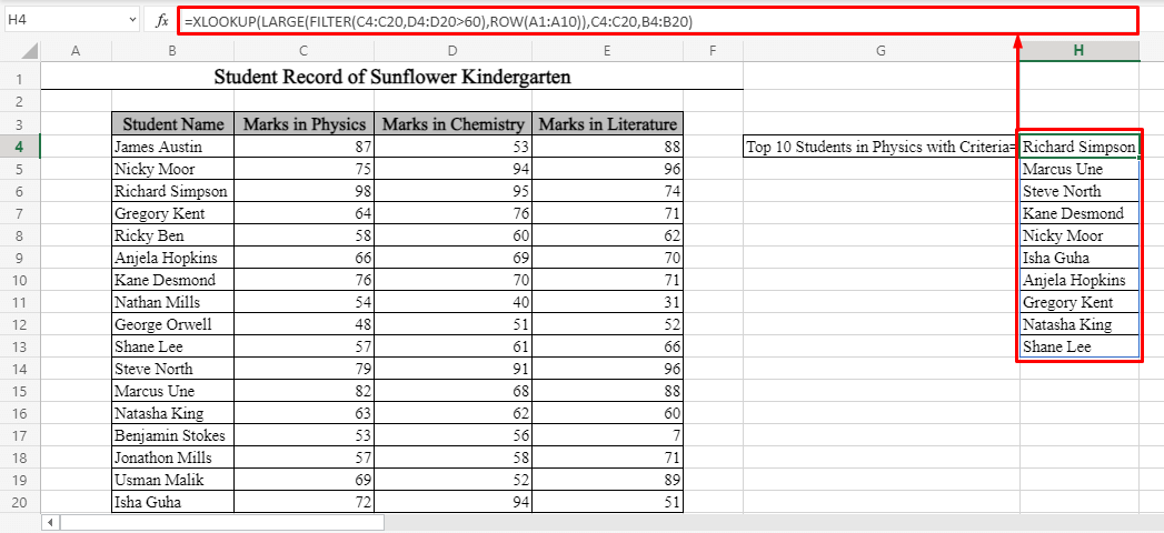 Names of the Top 10 Values Based on Criteria Using XLOOKUP