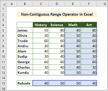 Non-contiguous Reference Operator in Excel